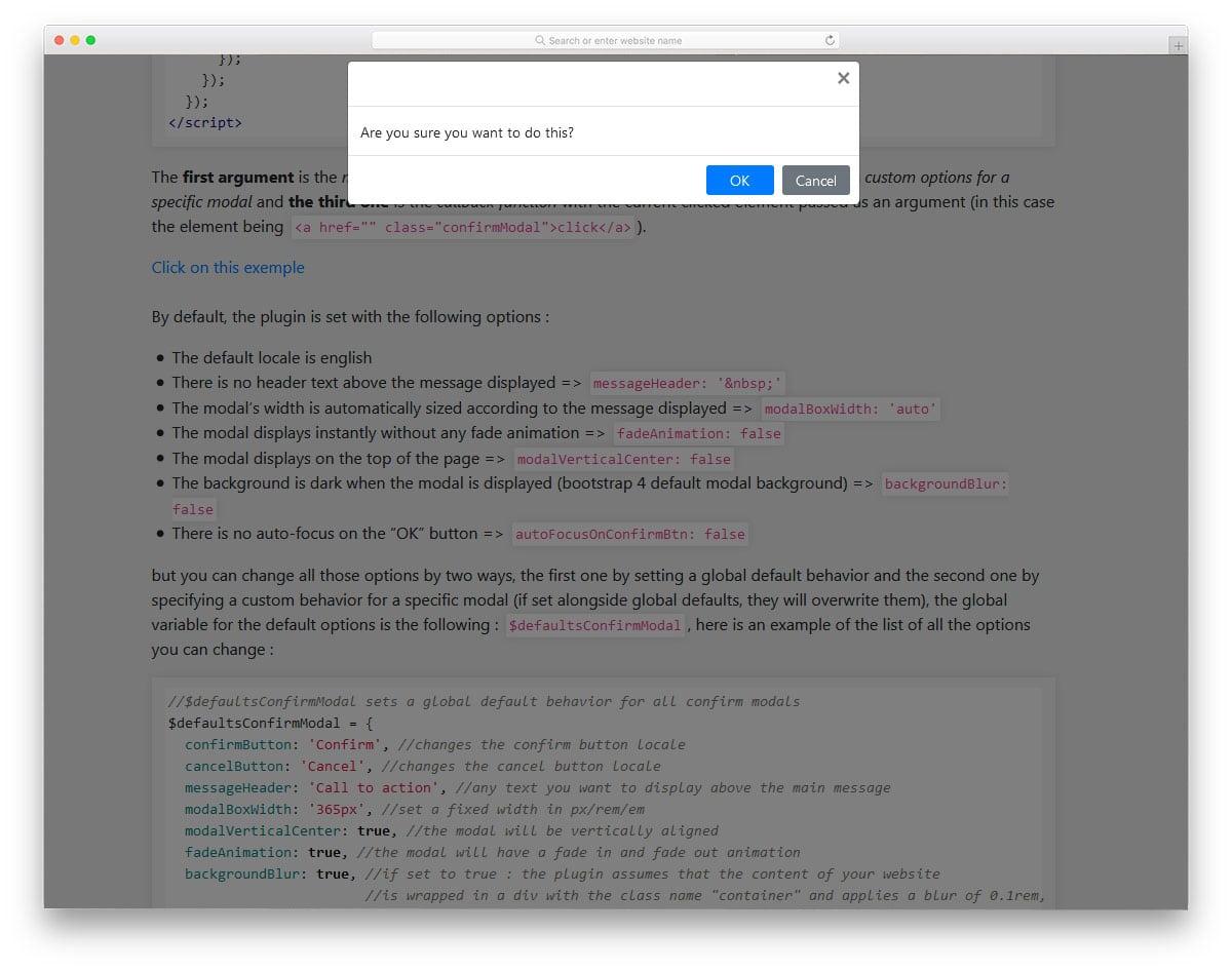 modal type confirm plugin