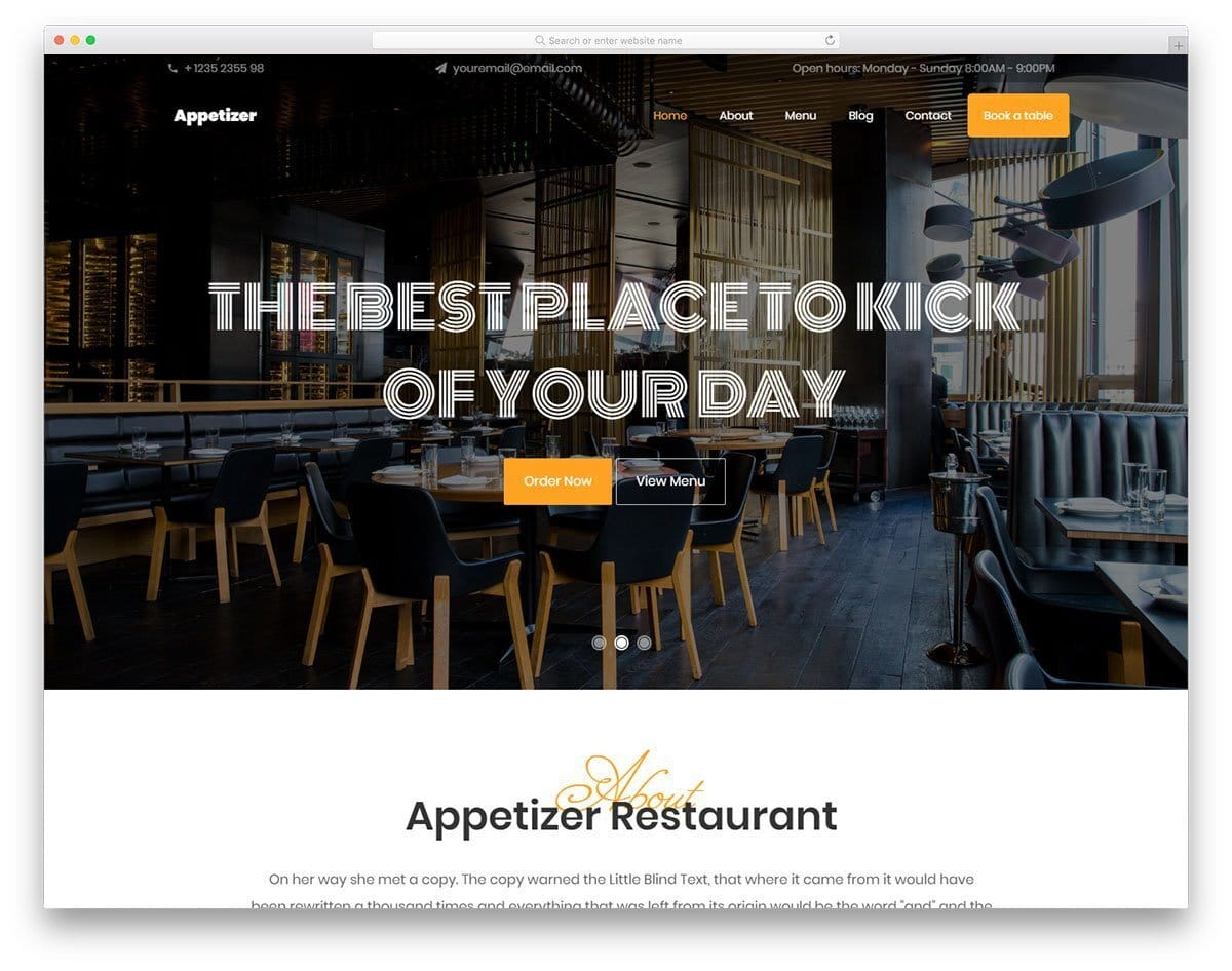 trendy looking restaurant website template