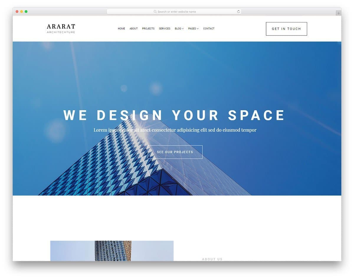 simple website template for architecture business website