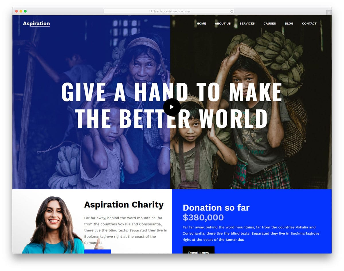 bold and straightforward website template for charity websites