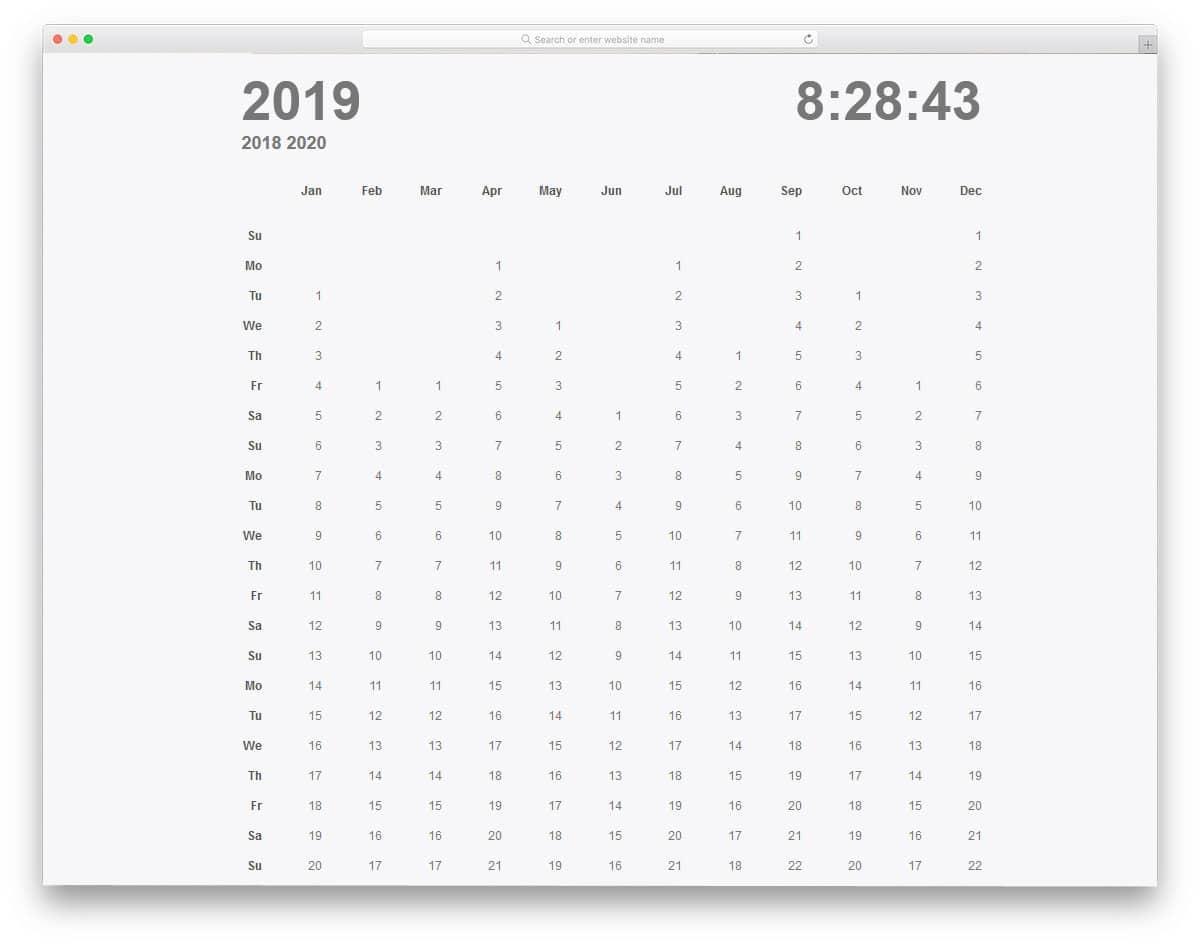 long calendar design