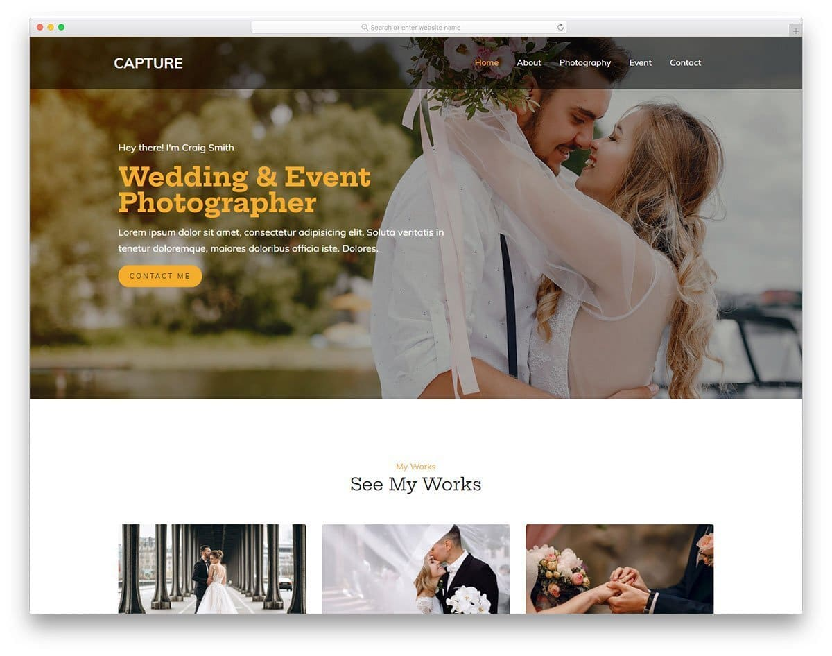 simple website template for photogrpahy websites