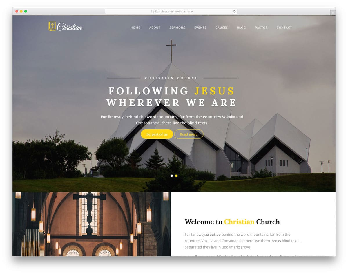 simple and elegant looking church website template