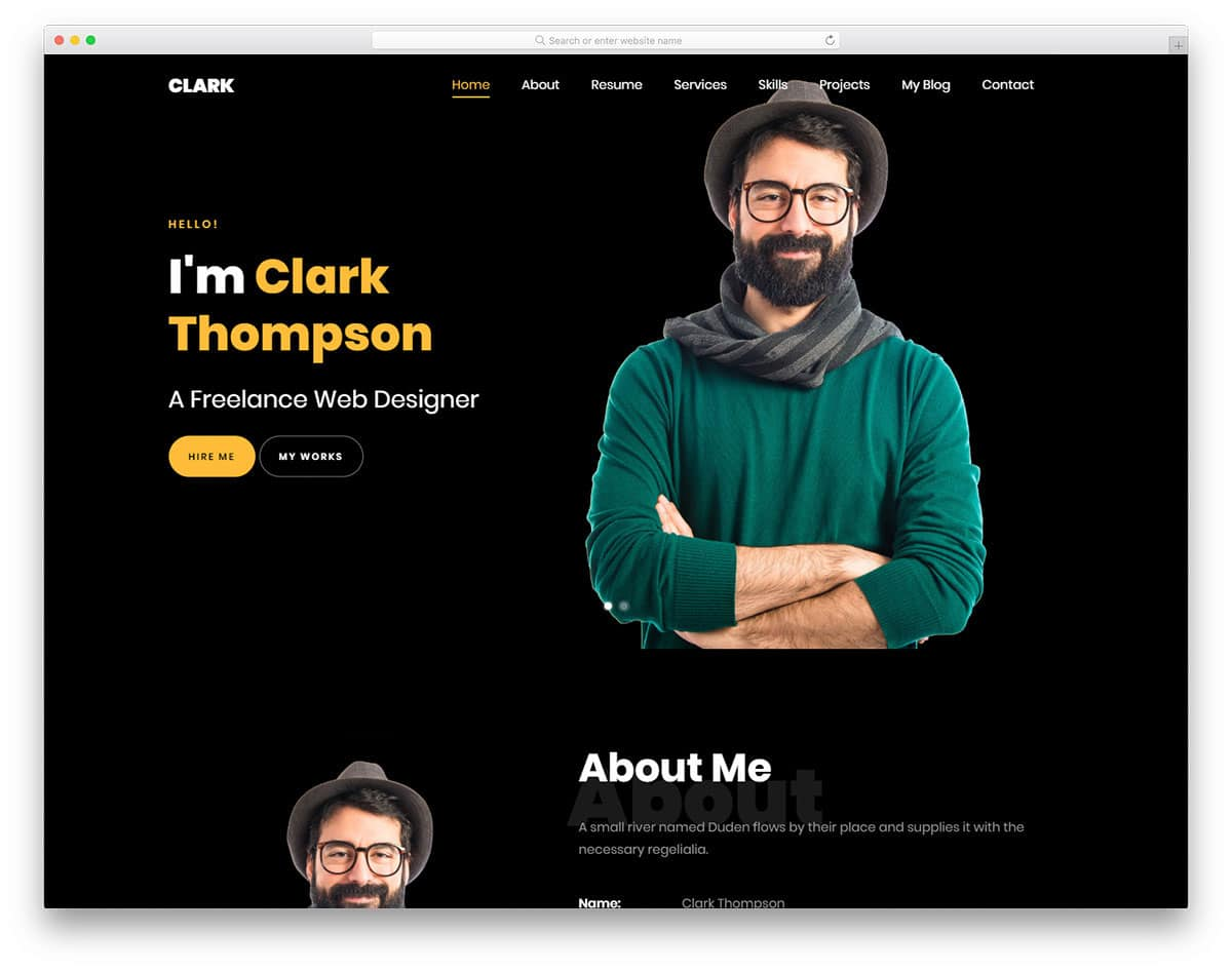 simple dark theme website template