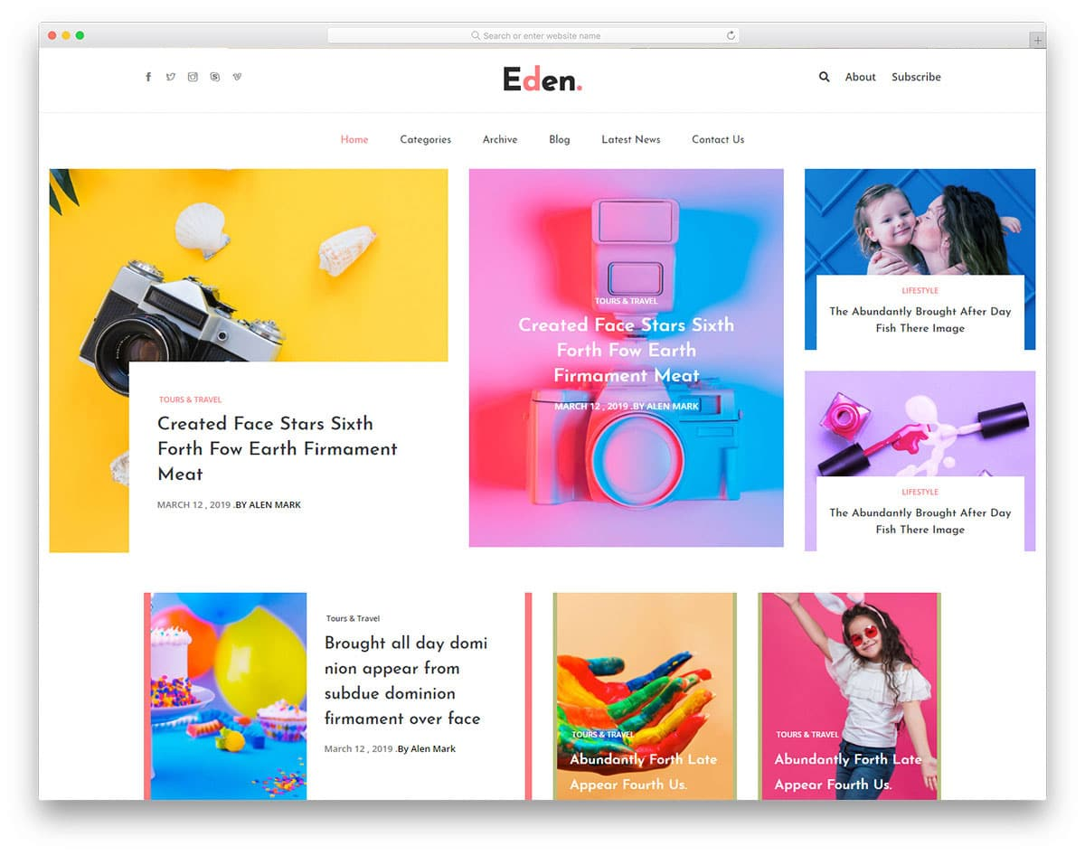 colorful and interactive website template