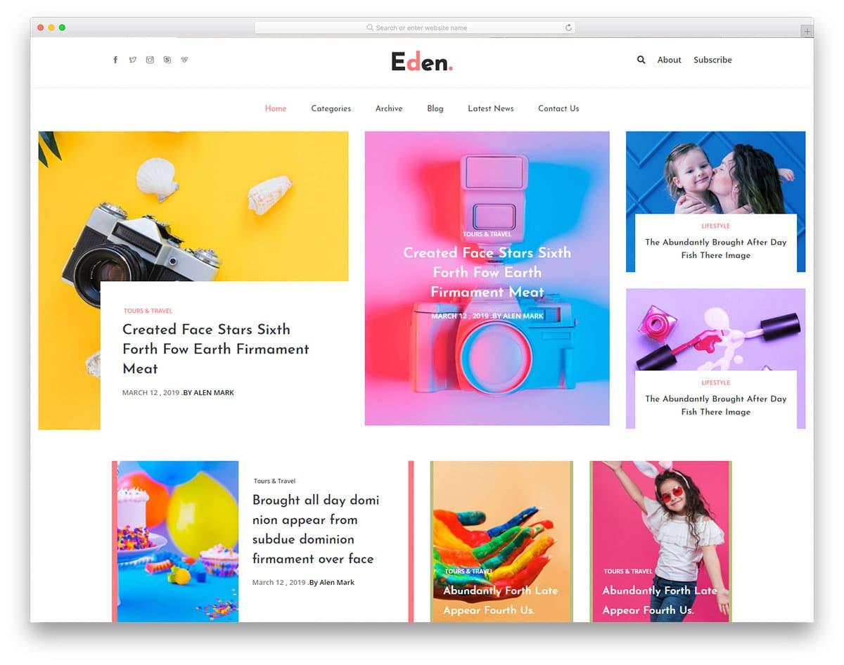 news website with interactive content blocks