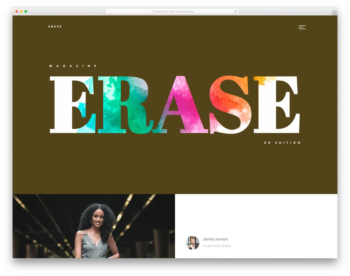 unique website layout for fashion magazine website