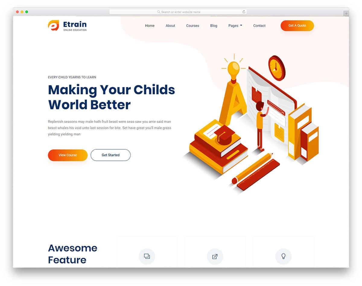 online courses website templates