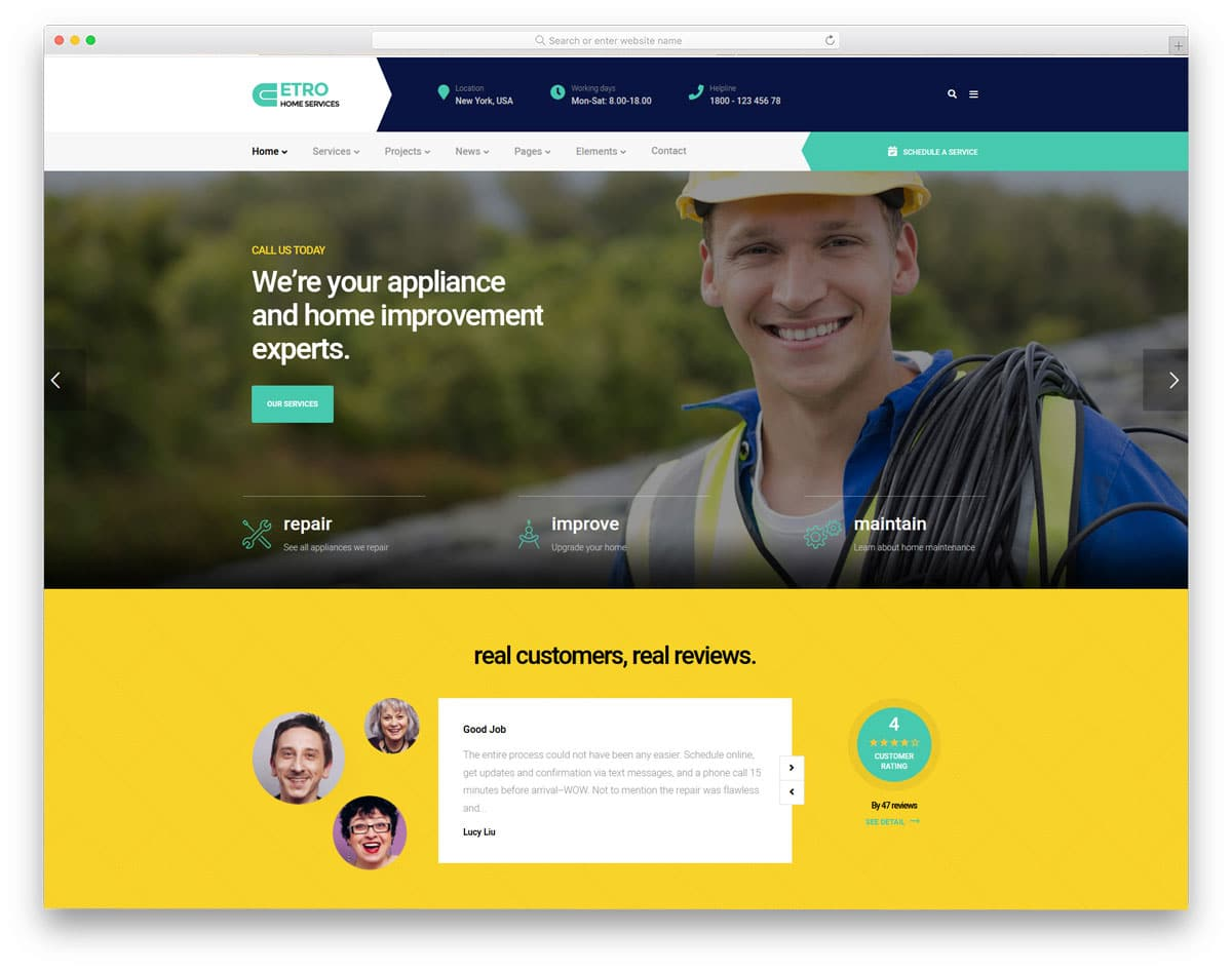colorful WordPress theme for handyman services