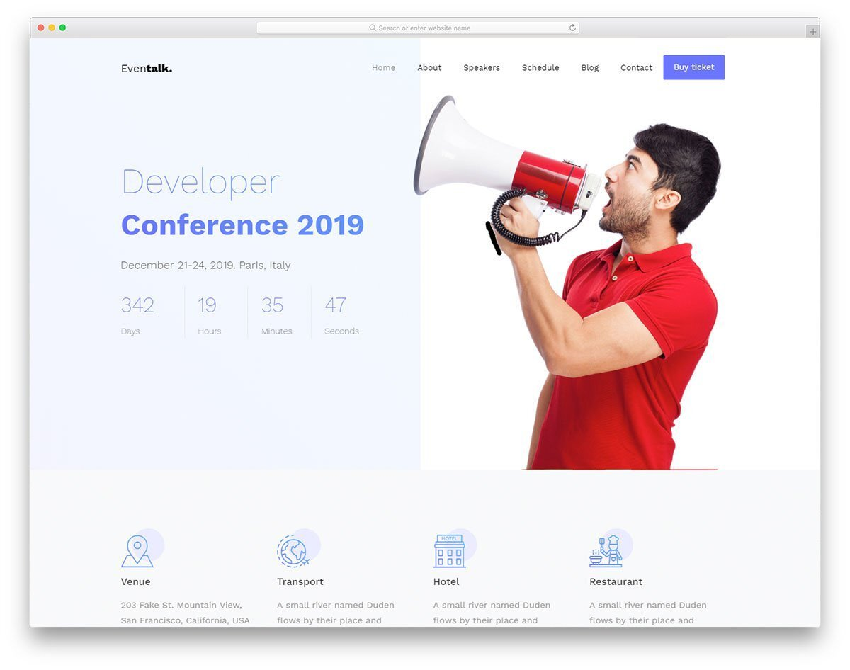 landing page template for event