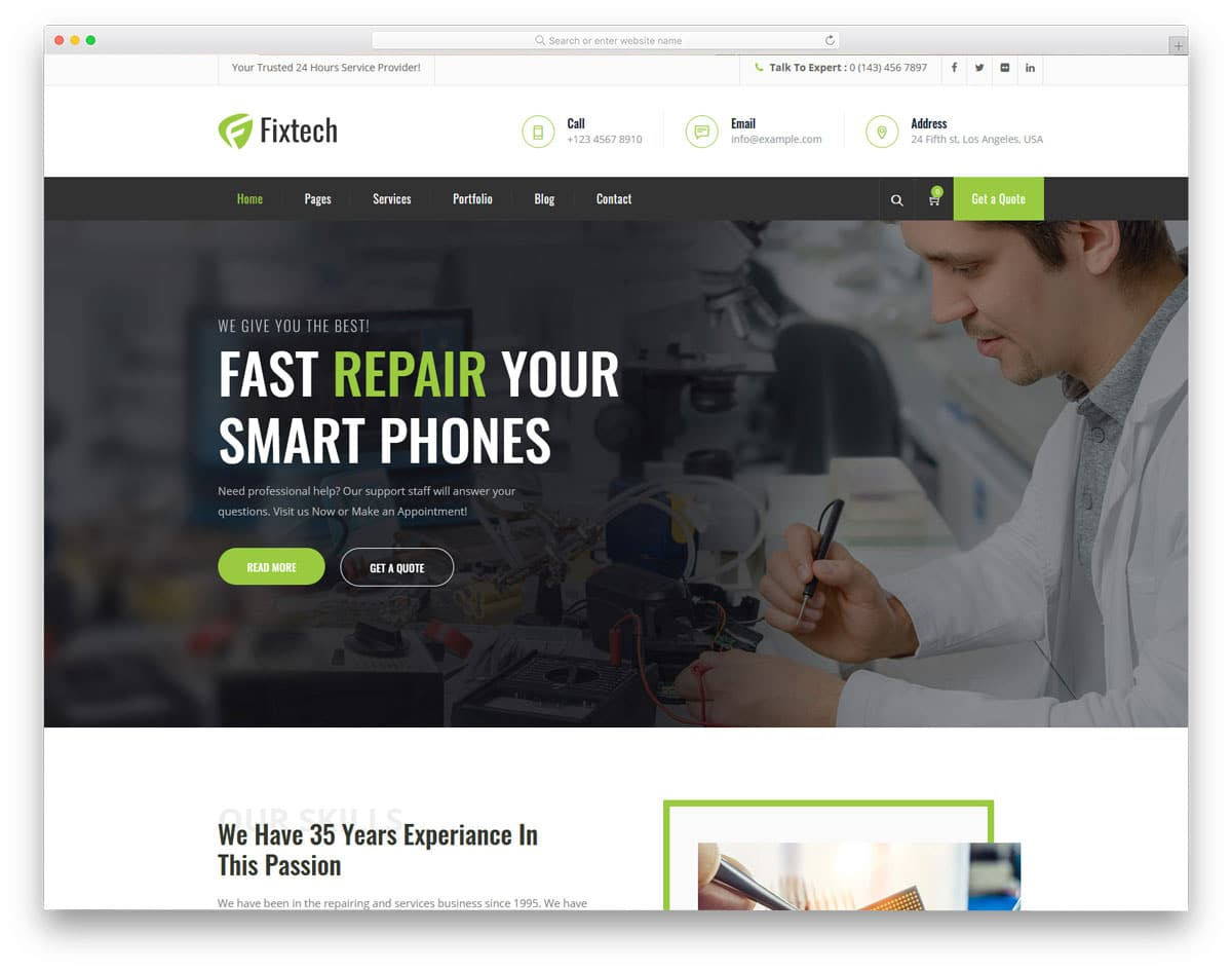professional looking computer repair WordPress themes