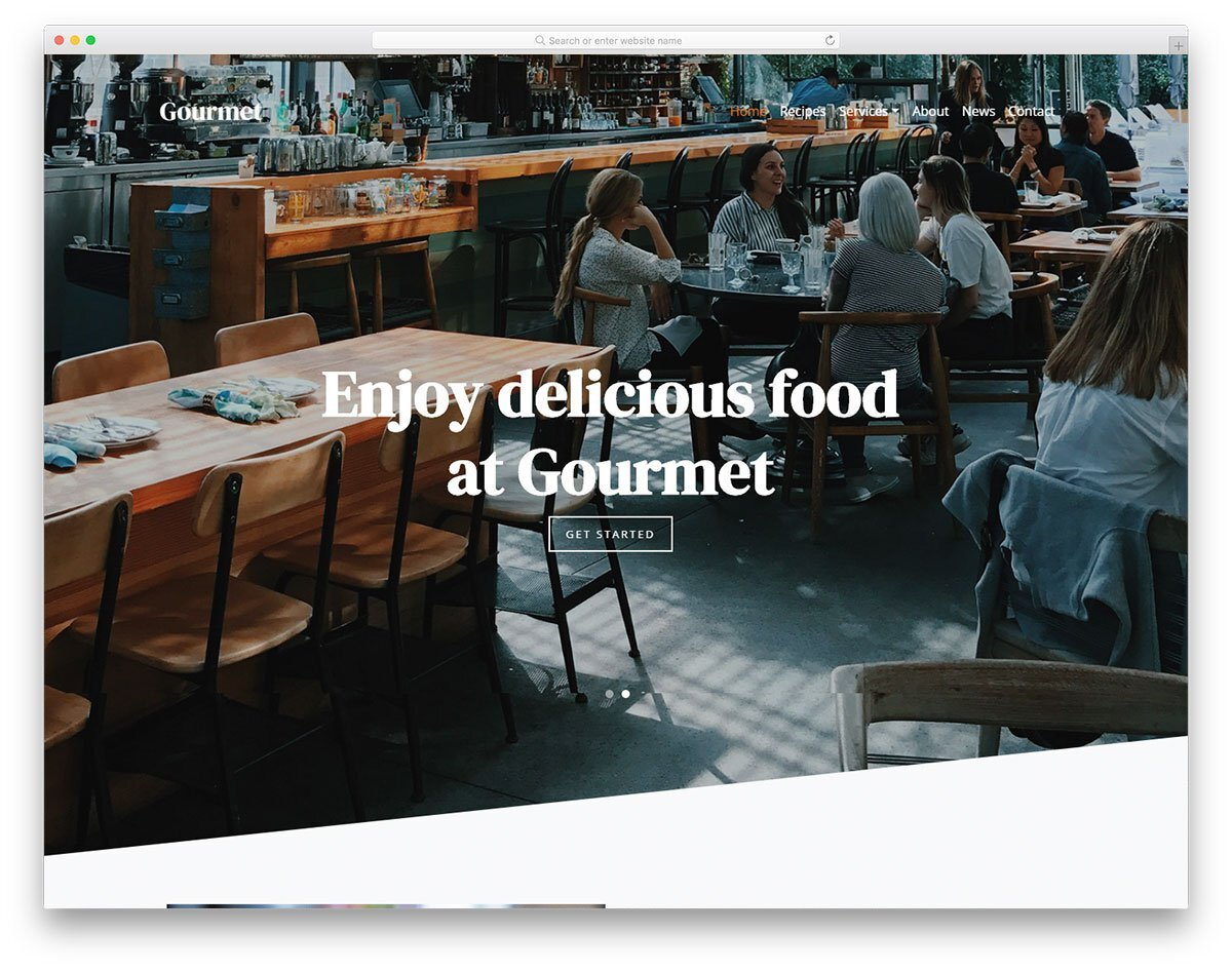 restaurant website template with unique layout