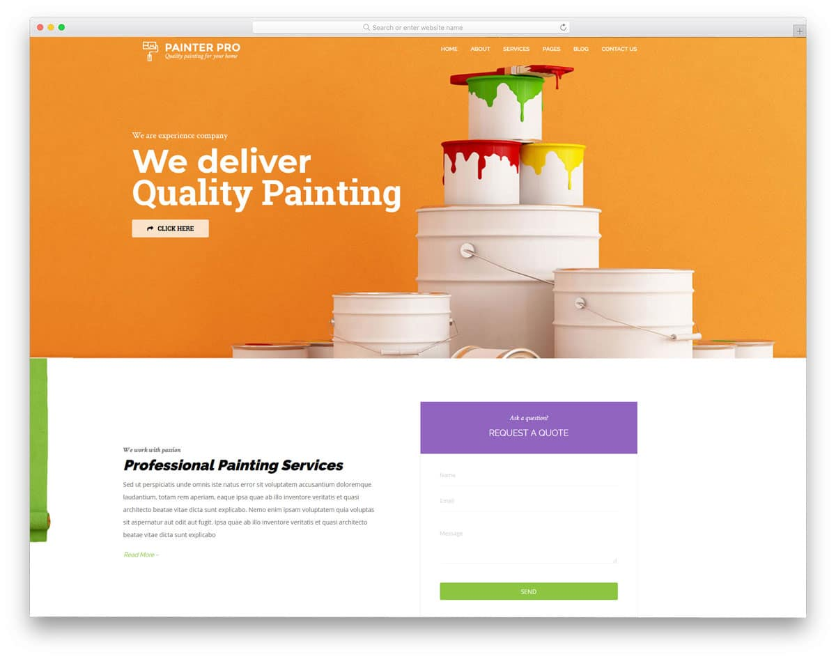 handy man WordPress theme with dedicated theme for painters