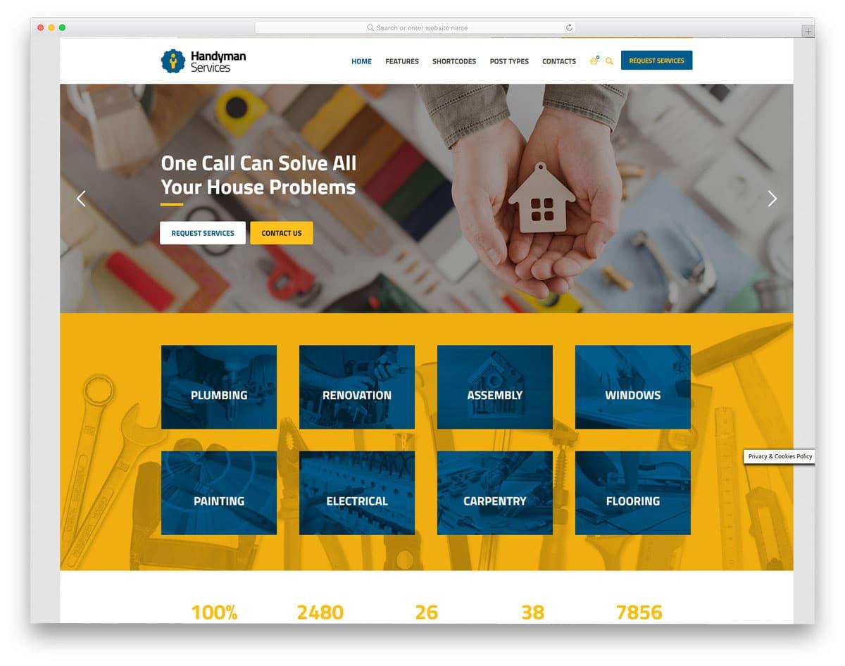 boxed-width handyman service WordPress theme