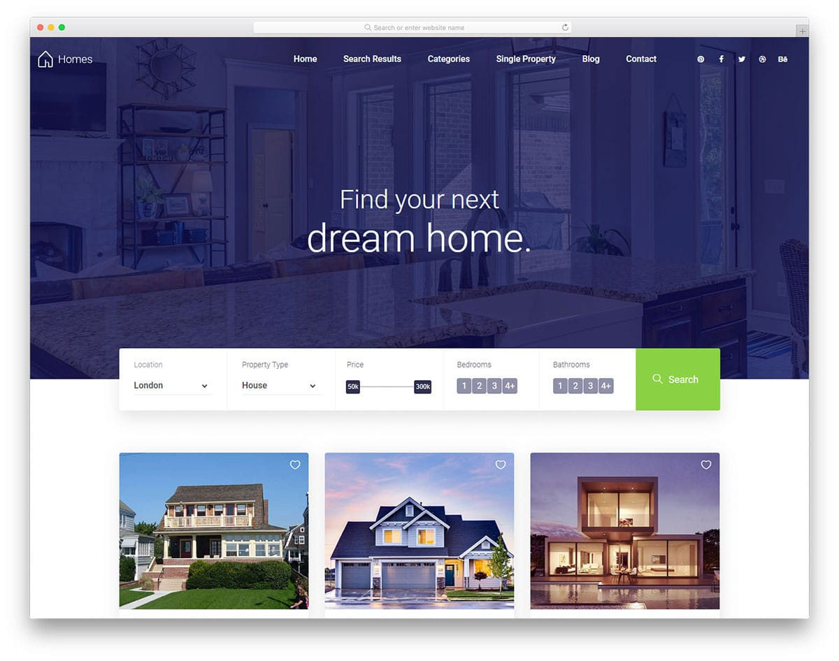 real estate website template for houses
