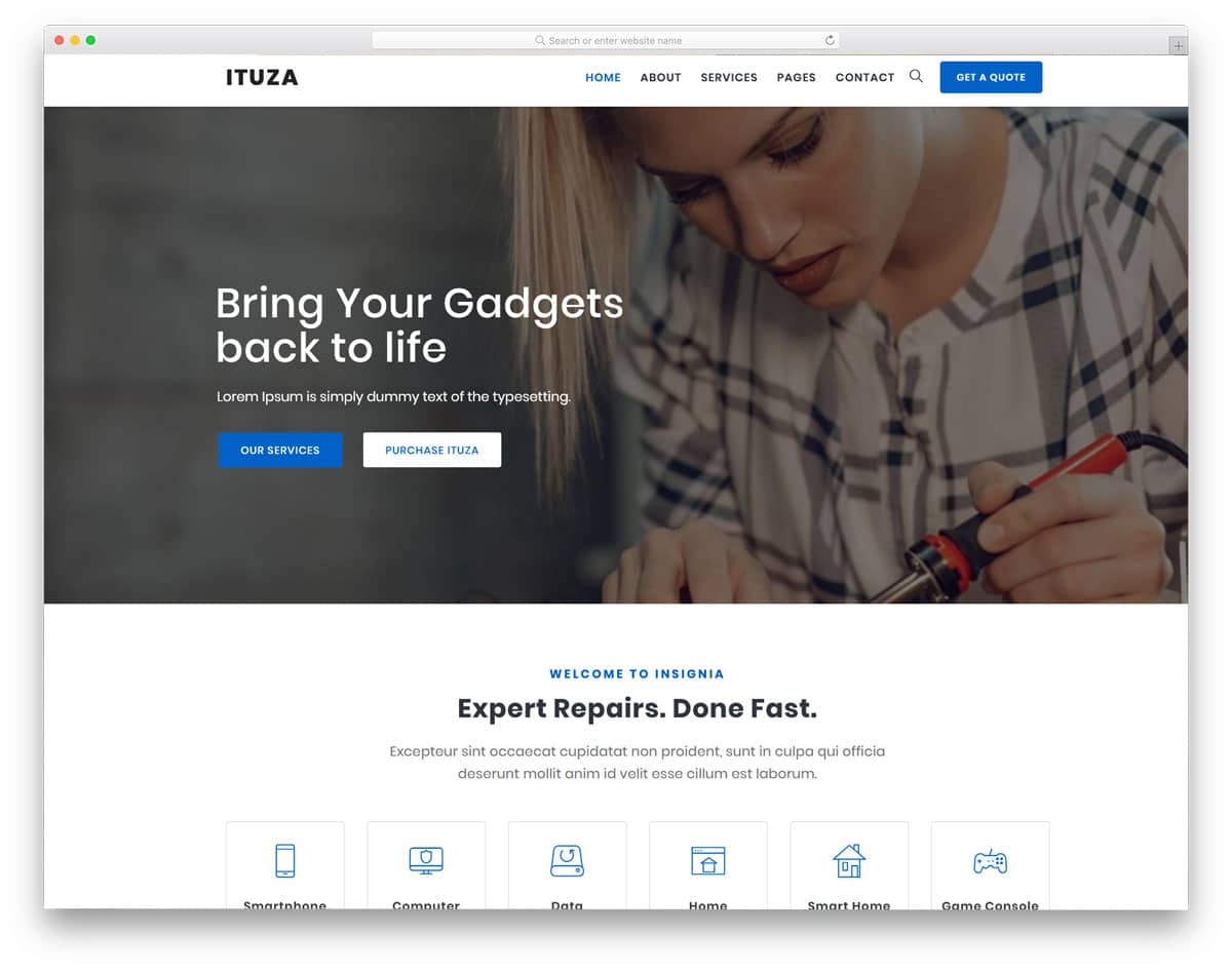 interactive and modern computer repair WordPress themes