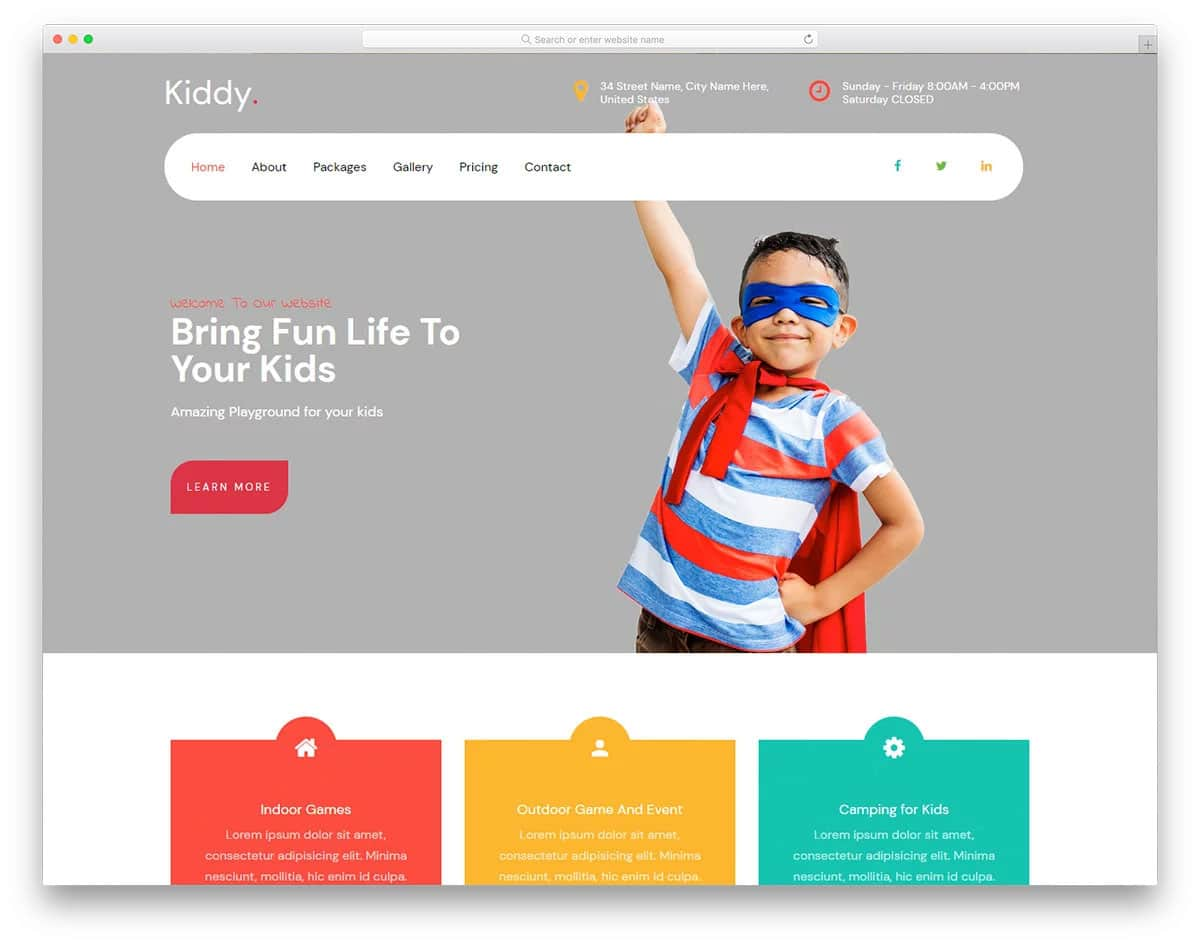 education website template for kids