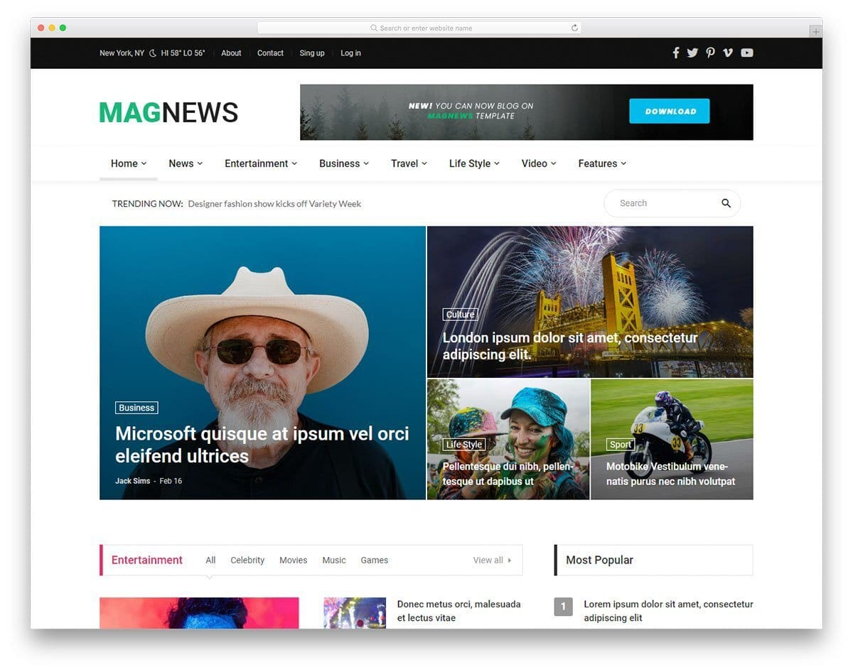 gaming news and magazine website template