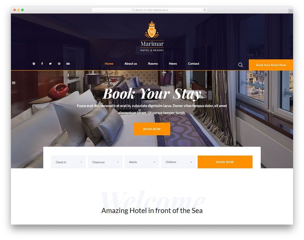 best hotel website template to showcase your rooms