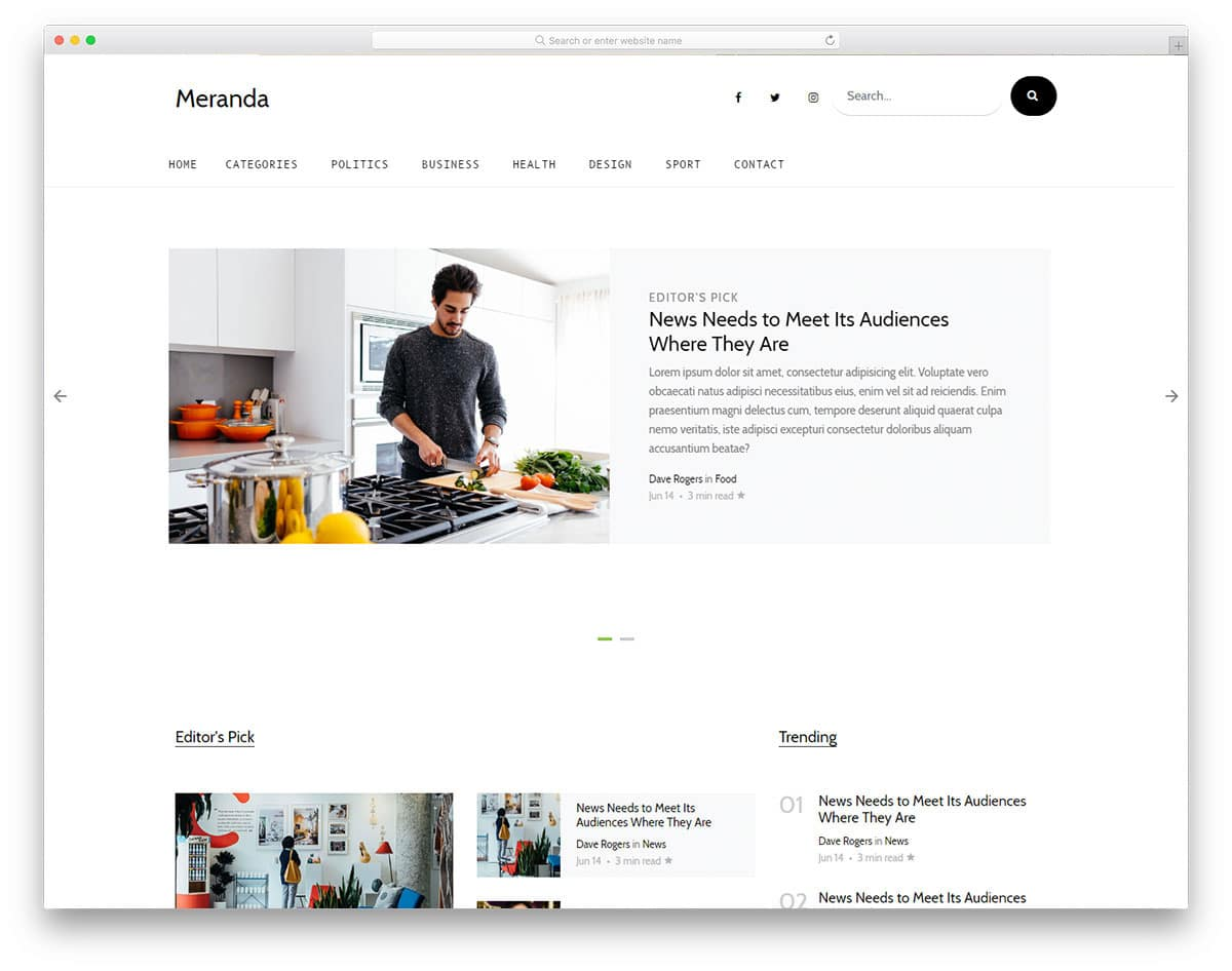 news website template with minimal design