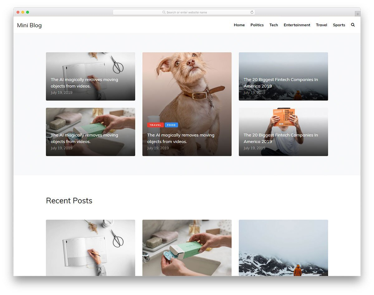 minimal blog and magazine website template