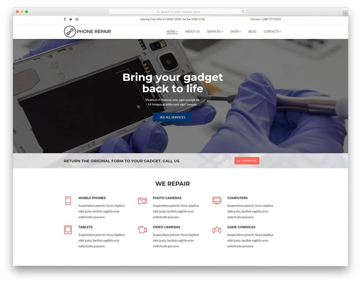 mobile and computer repair wordpress theme