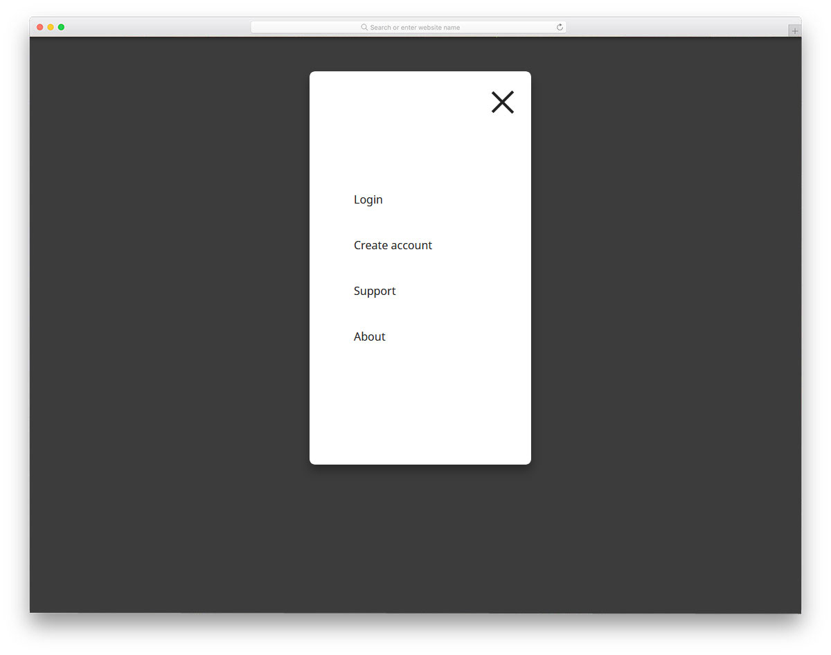 mobile menu navigation animation