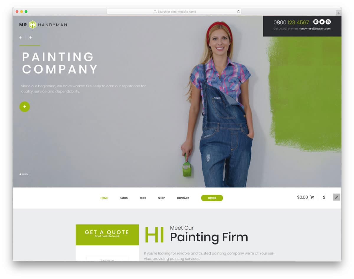 brand focused WordPress themes for painters