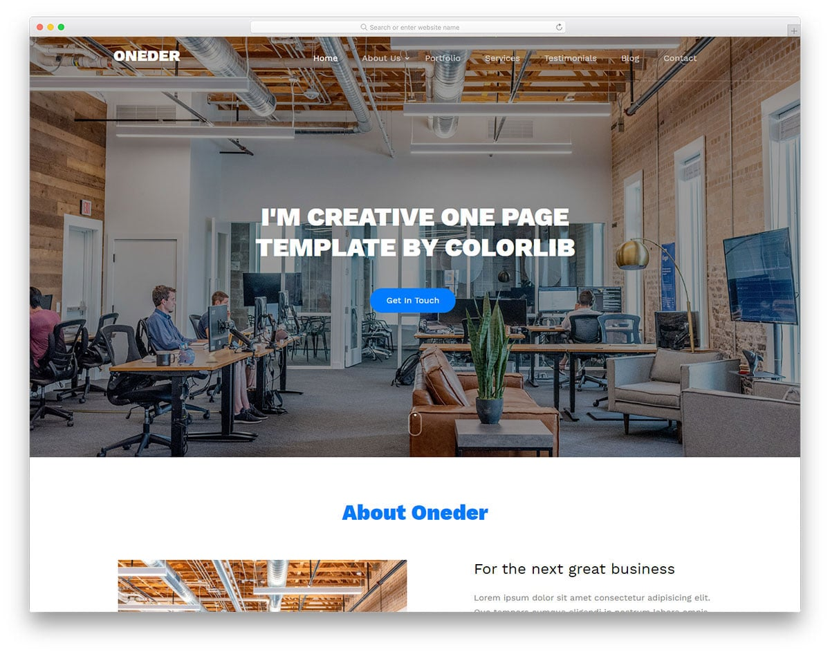 clean single page website template