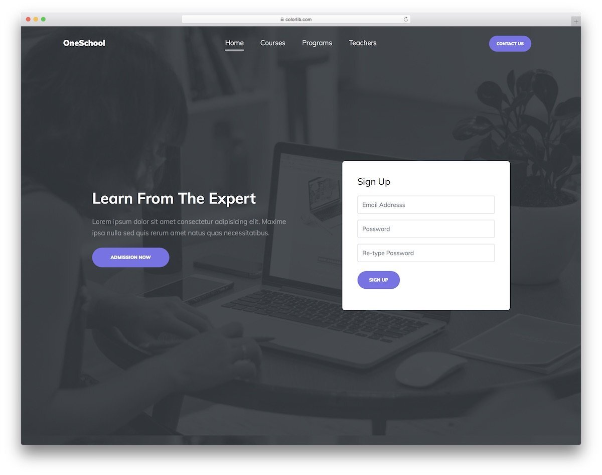 education institution landing page template