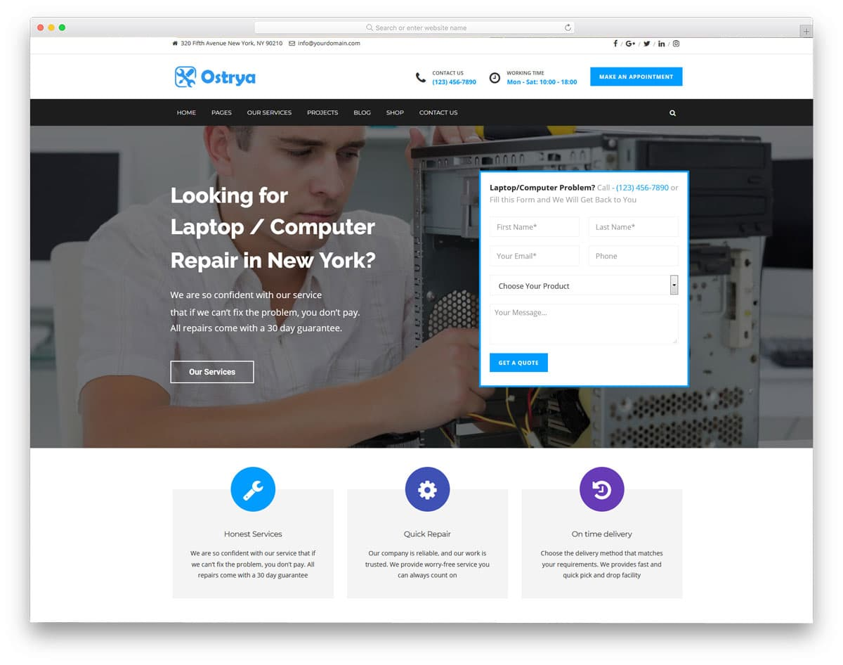 computer repair WordPress themes with useful features