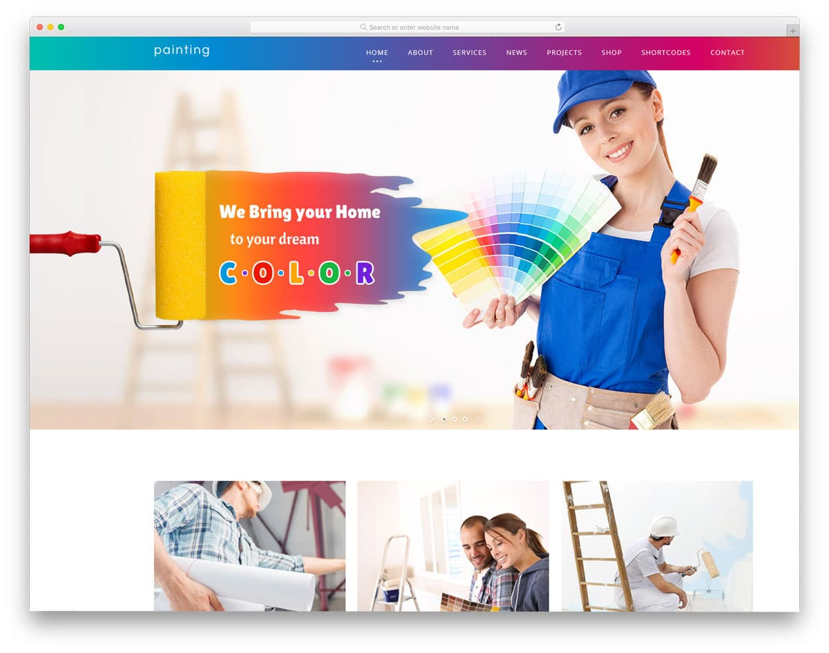 colorful and gradient-rich WordPress themes for painters