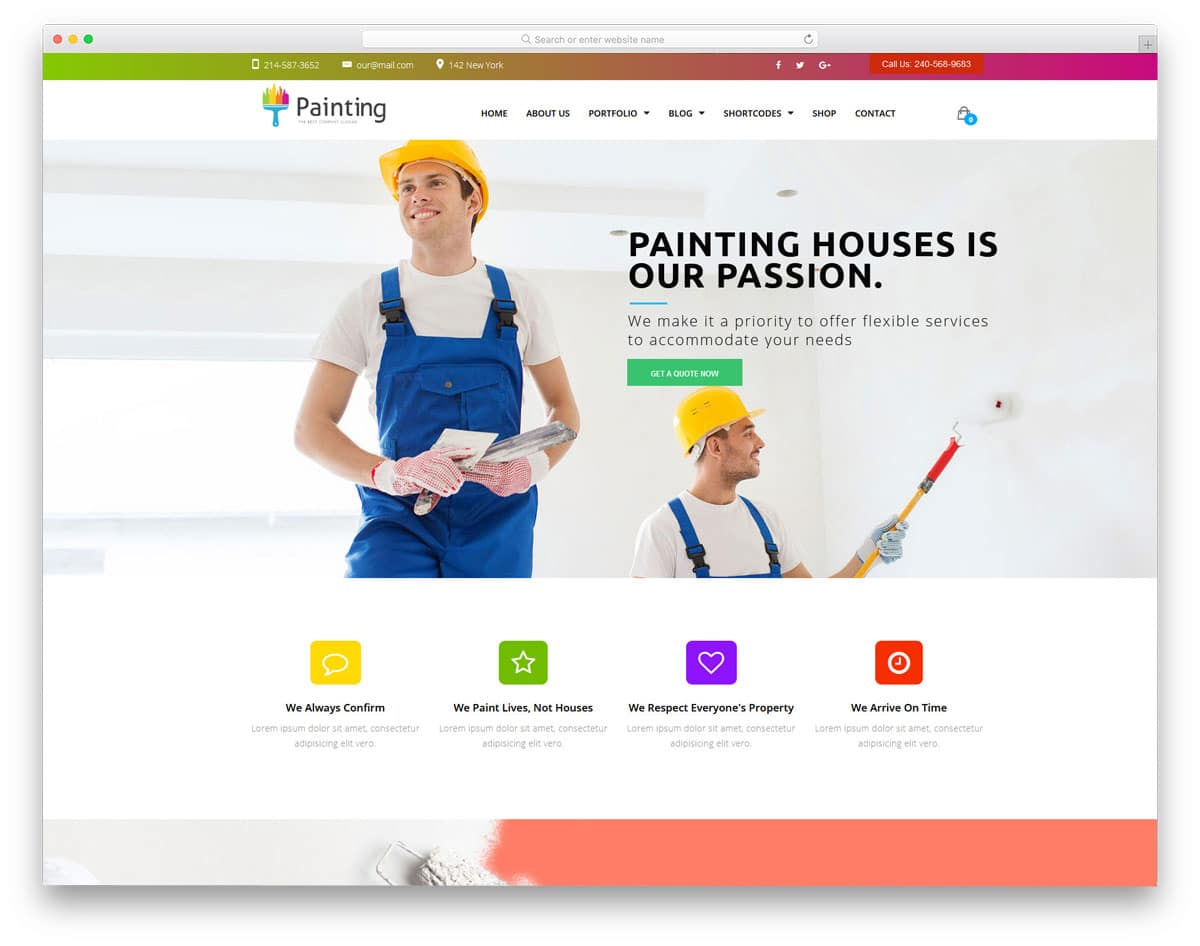 colorful and elegant looking WordPress themes for painters