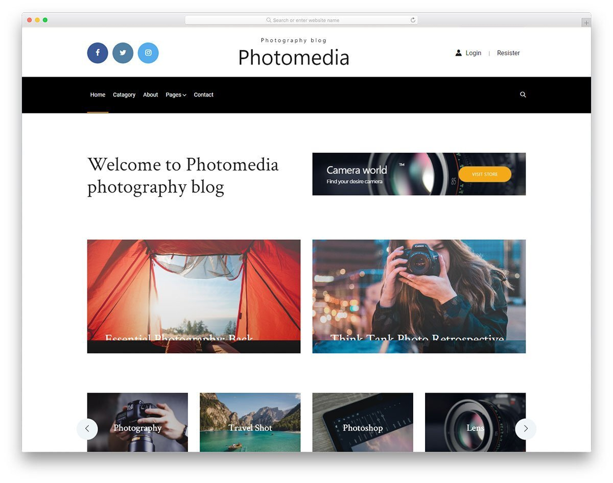 photography blog and magazine website template