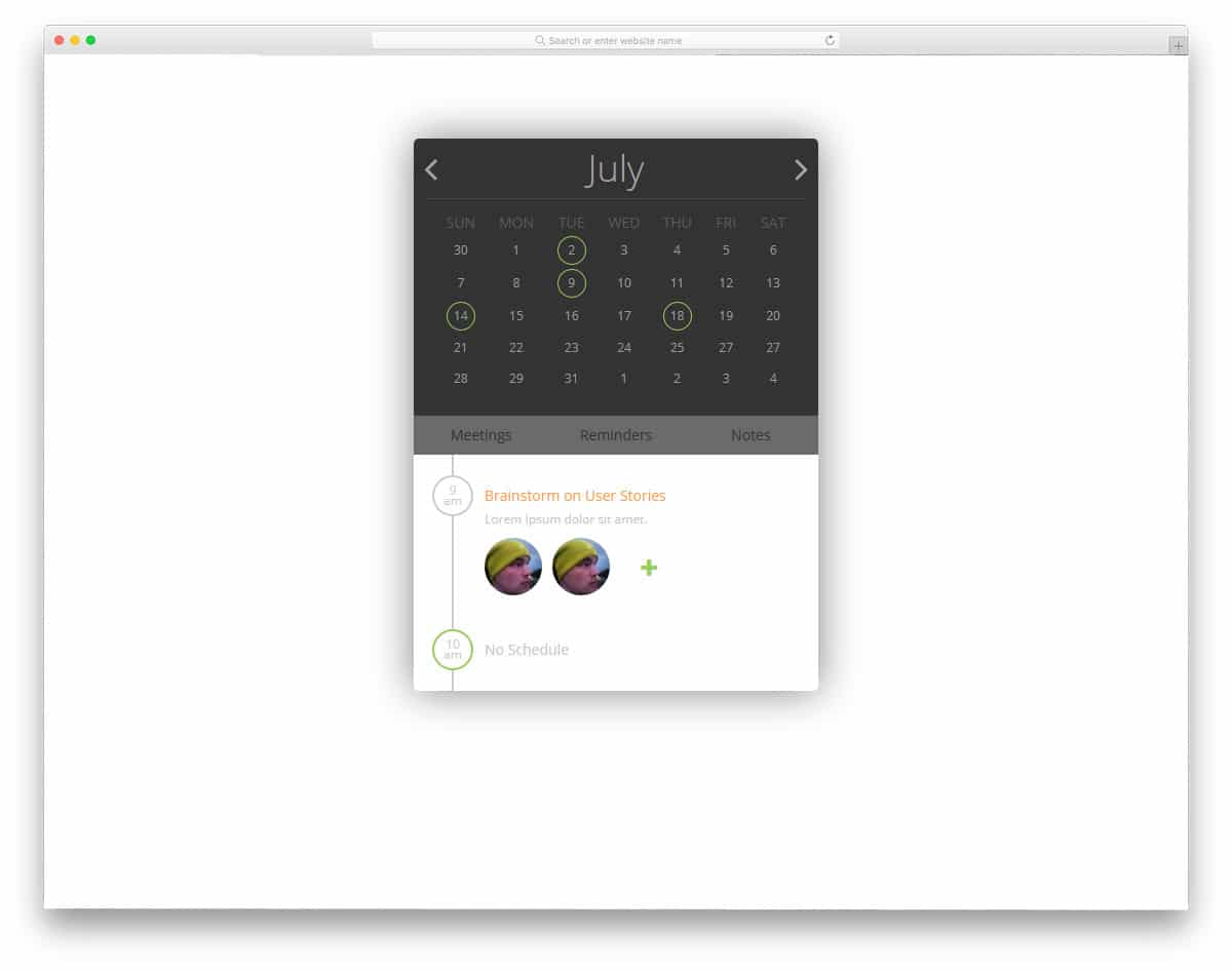 calendar for organizing work