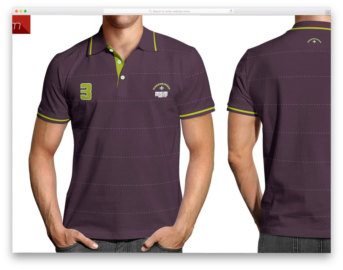 polo shirt mockup with back and frint view