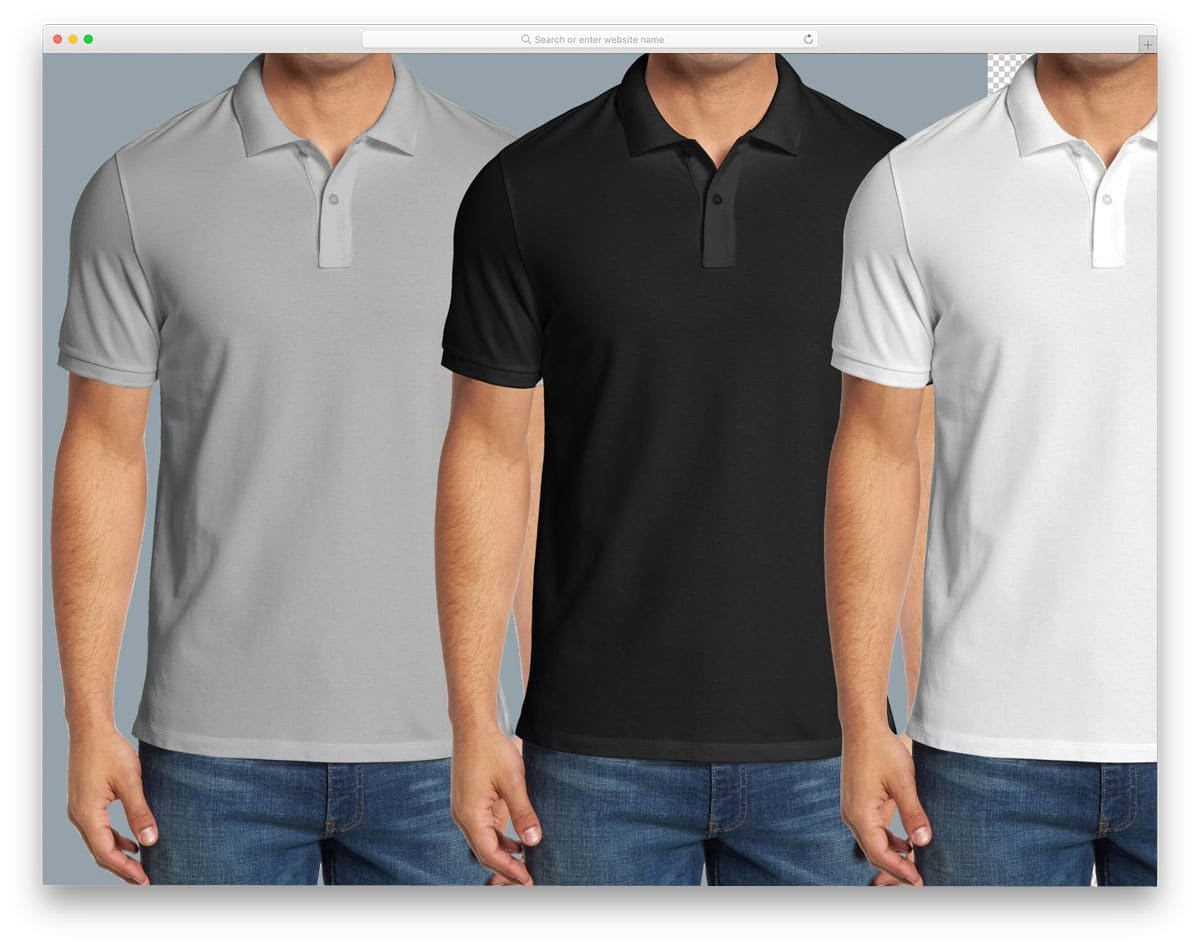 polo shirt mockup with male model