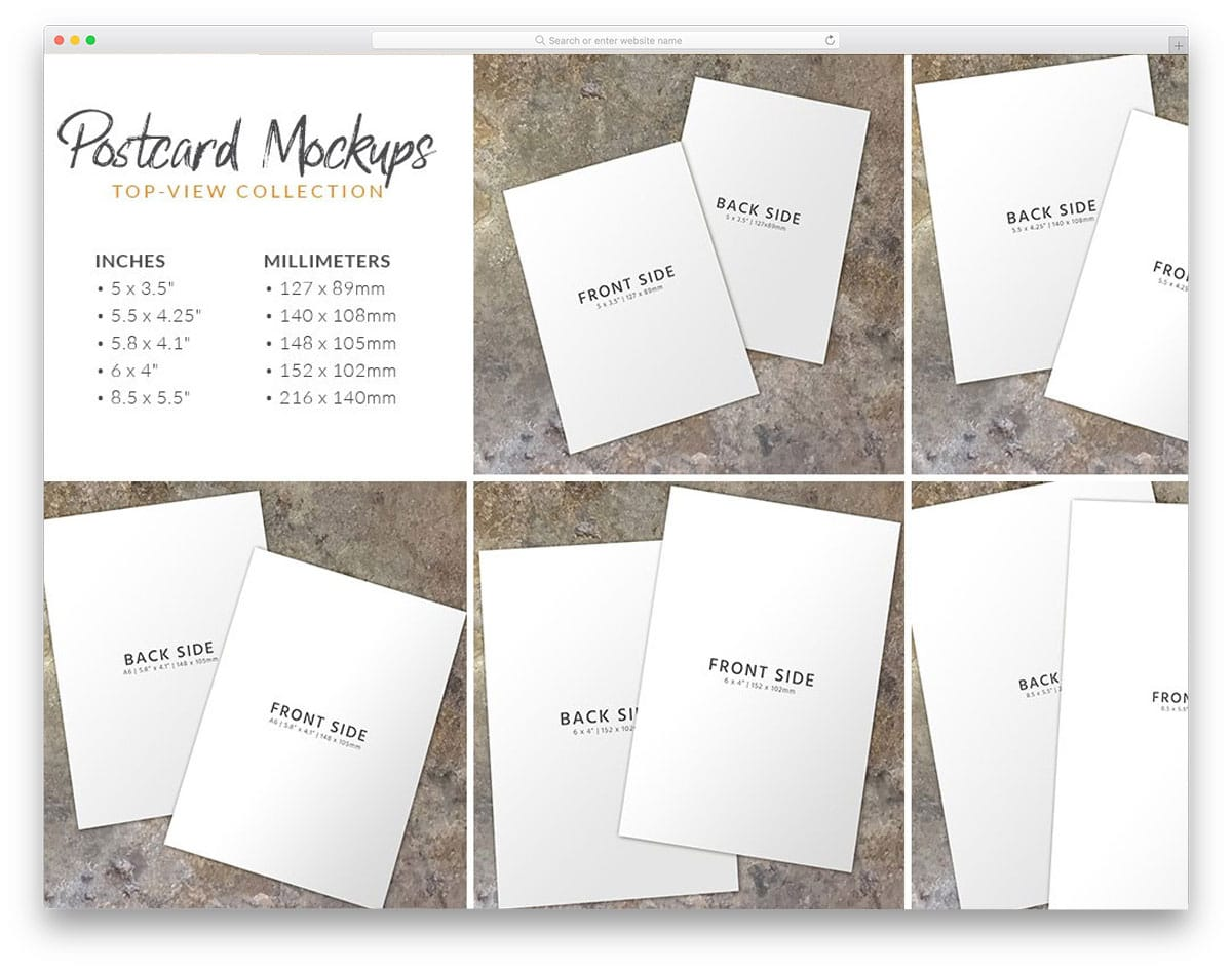 postcard mockup bundle that shows postcards from different views