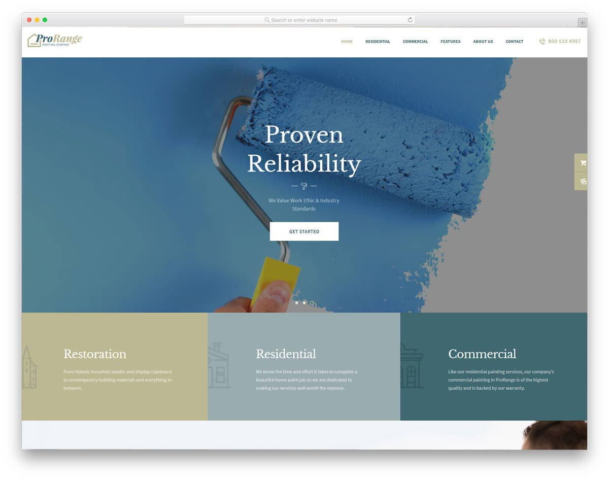 contemporary style WordPress themes for painters