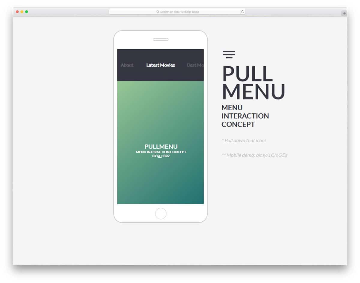 pull menu concept