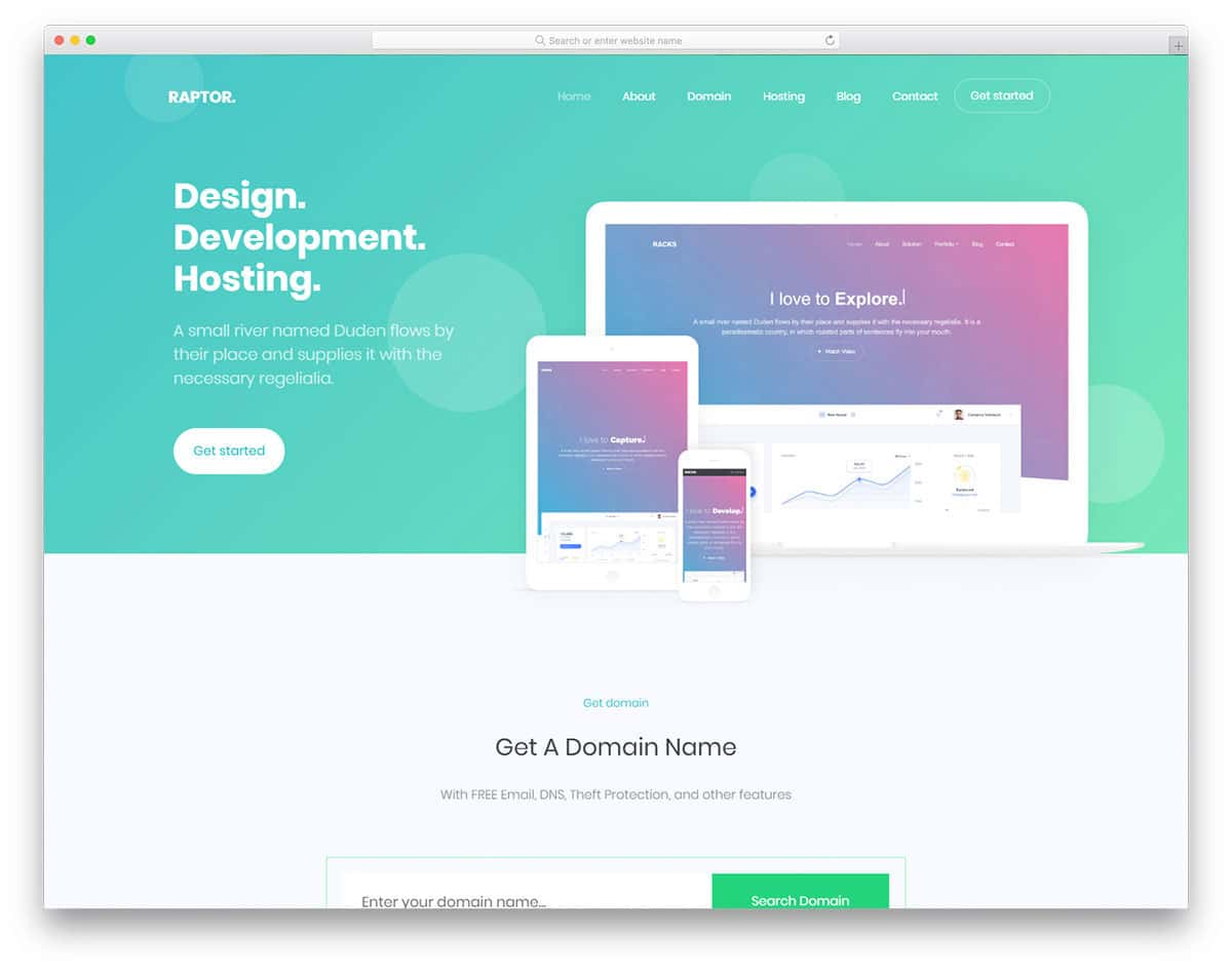 minimal design hosting website template