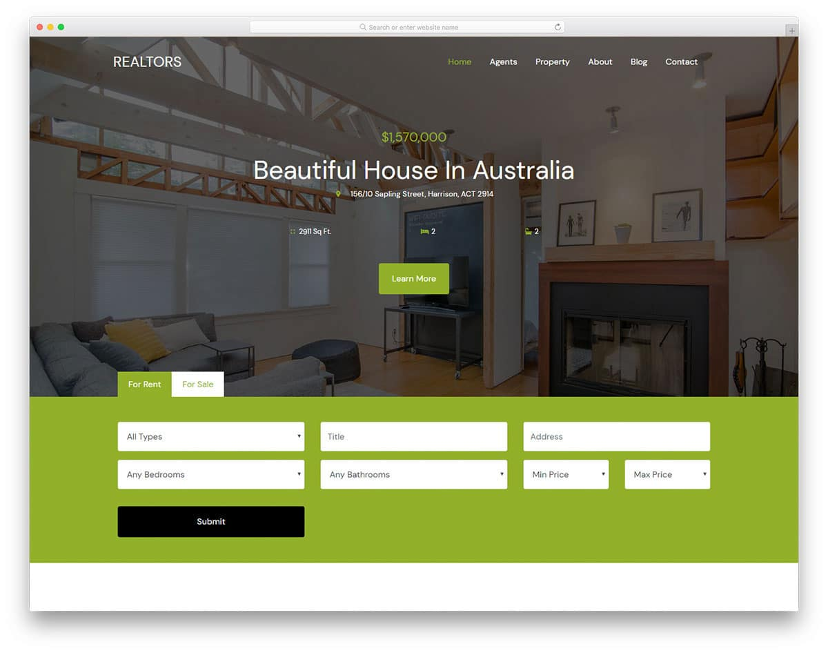 real estate website template with useful features