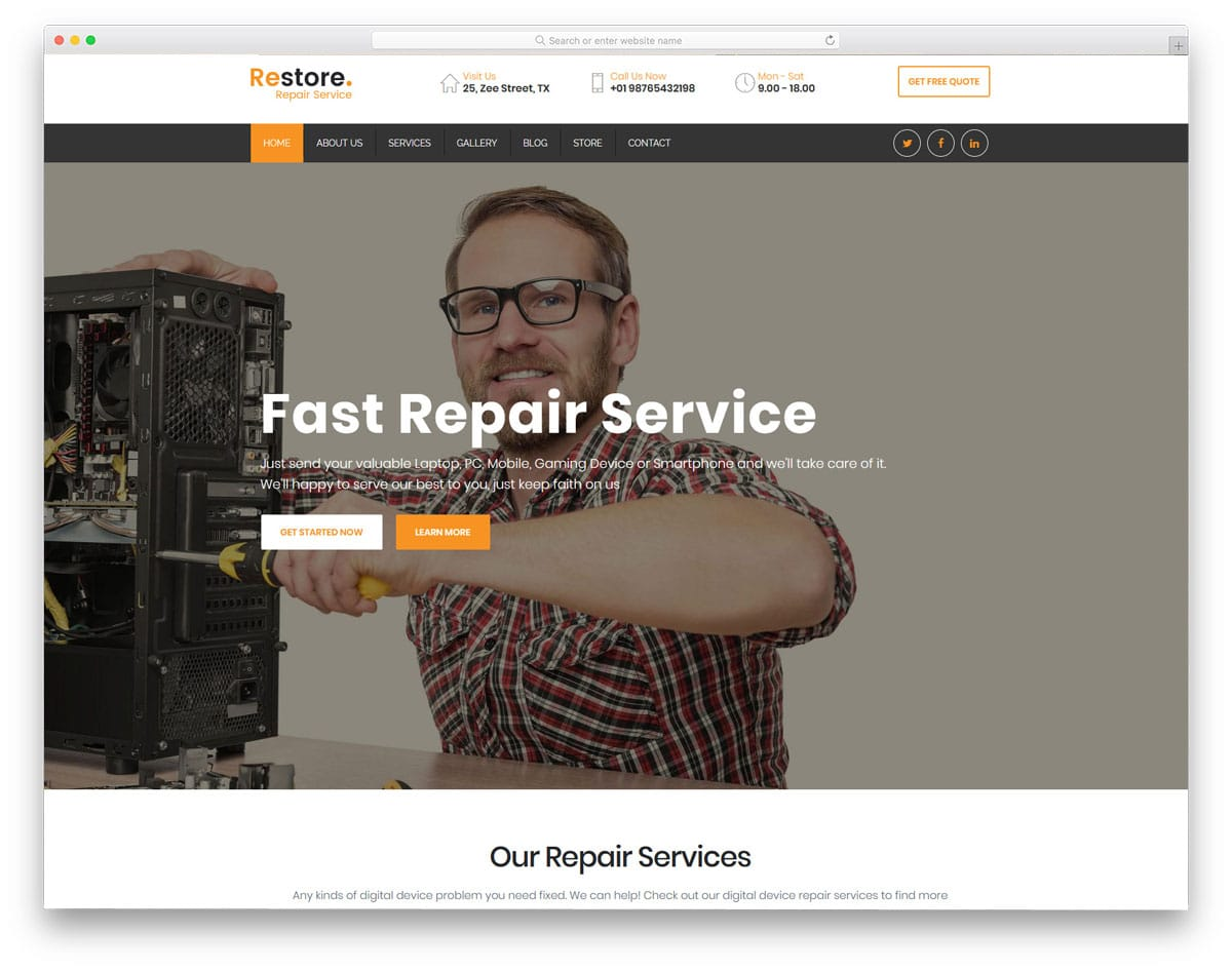 computer repair WordPress themes with full page layout