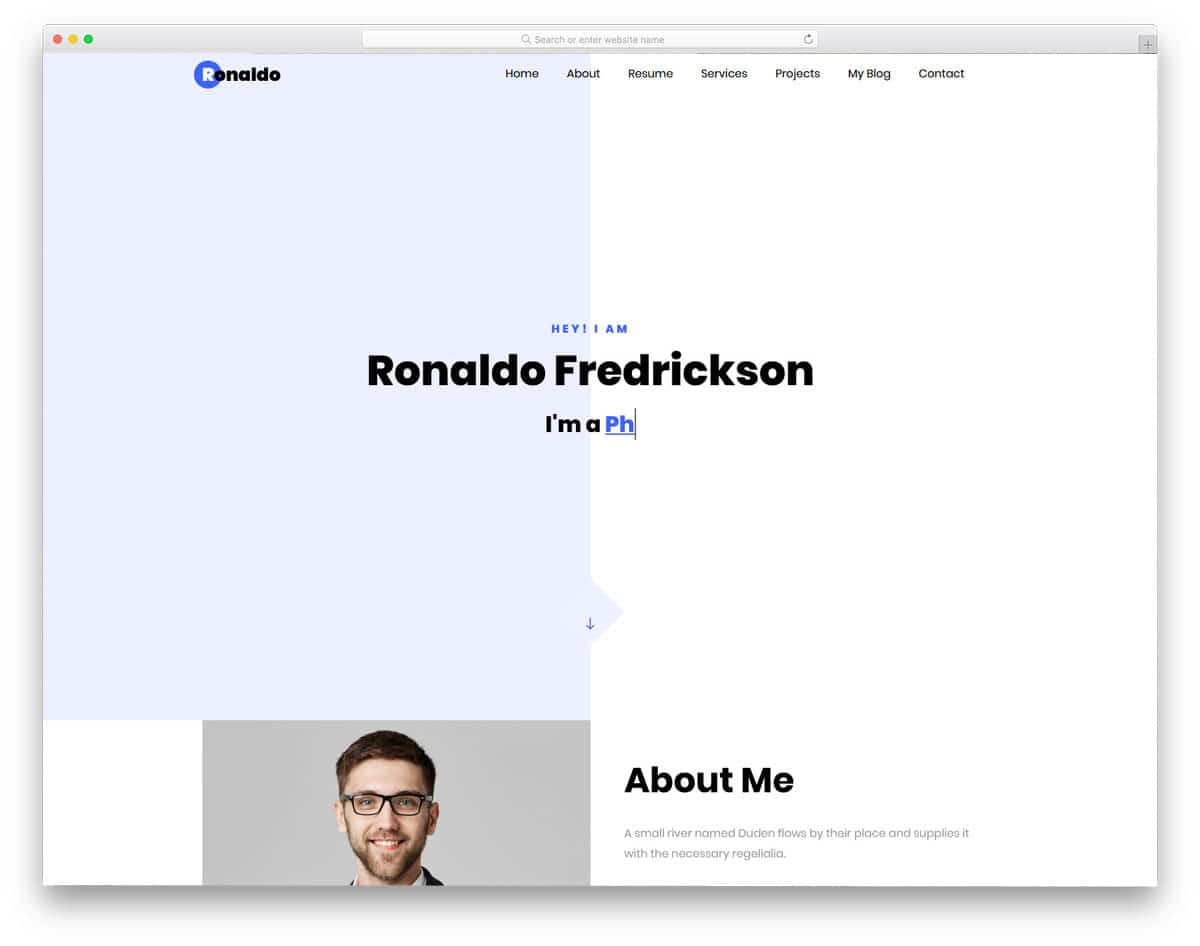 interactive psersonal website template
