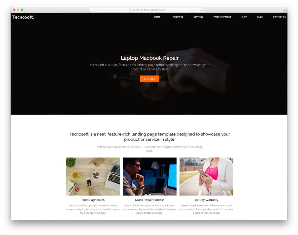 easy to customize computer repair WordPress themes