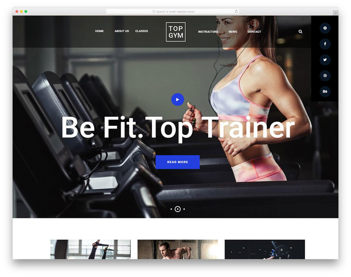 fitness website template with a trendy design