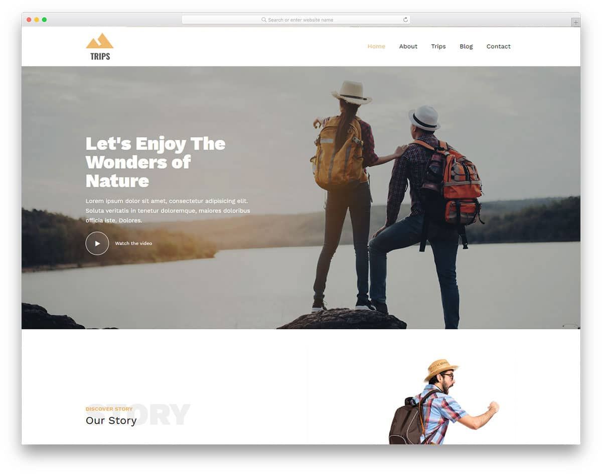 clean website template for travelers