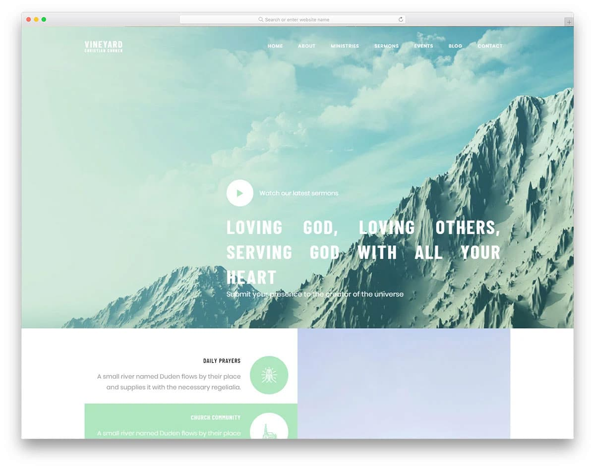 church website template with useful features