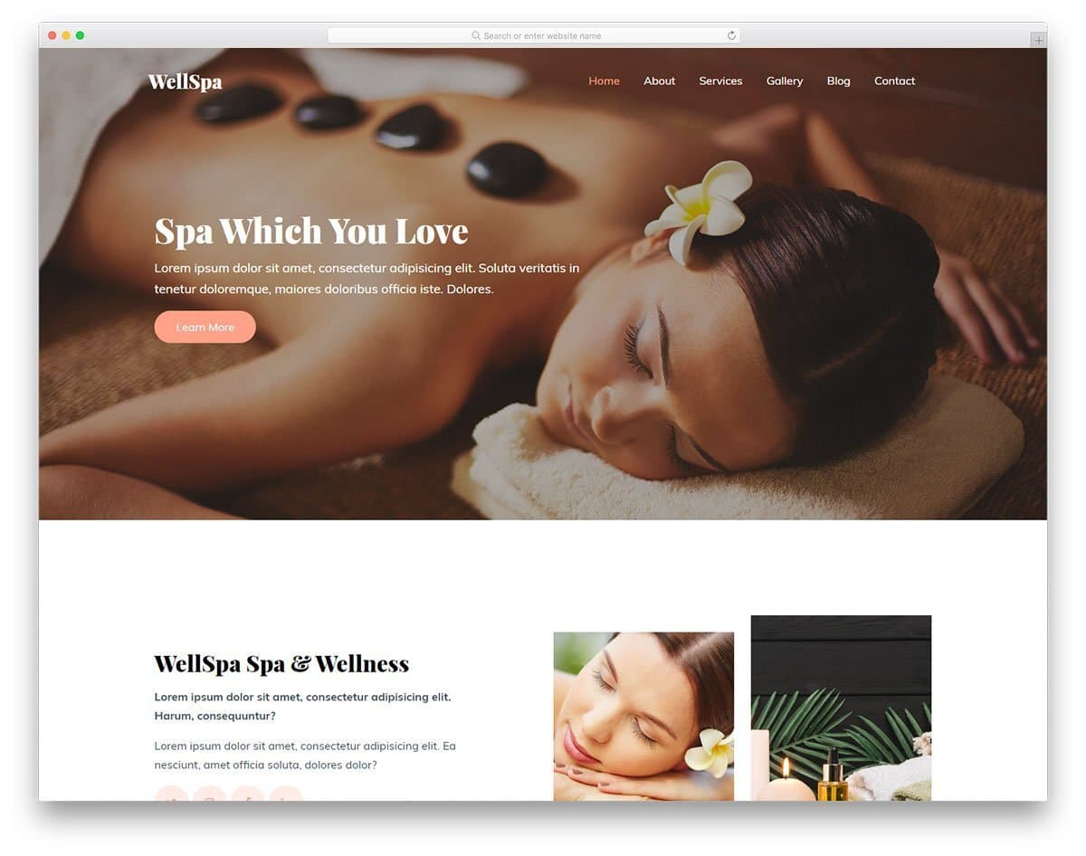 clean website template for spa