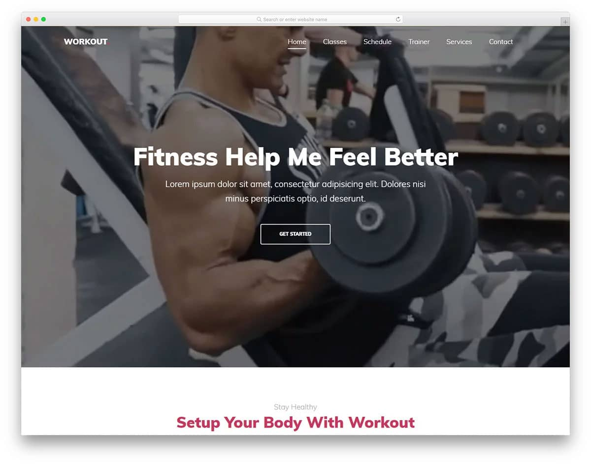 fitness website template with video background